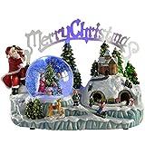 WeRChristmas Beleuchtete Weihnachtsdekoration Weihnachtliche Szene, mit Schneekugel und Musik, 30cm