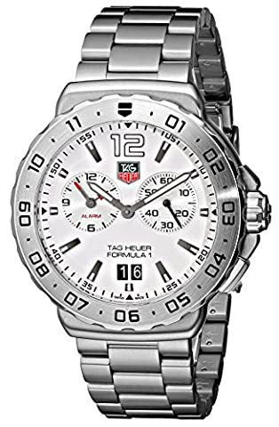 Stainless Steel Formula One Quartz Alarm White Dial Date Display