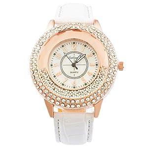 MJartoria Damen Armbanduhr Quarz Uhr Modeschmuck PU Lederarmband Mode Design mit Strass Weiß
