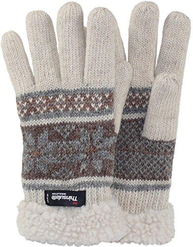 Finger Handschuh mit Norweger Muster Thinsulate für Damen, Farben:creme mit braun, Handschuhgröße:XL (Thinsulate Damen Handschuhe)