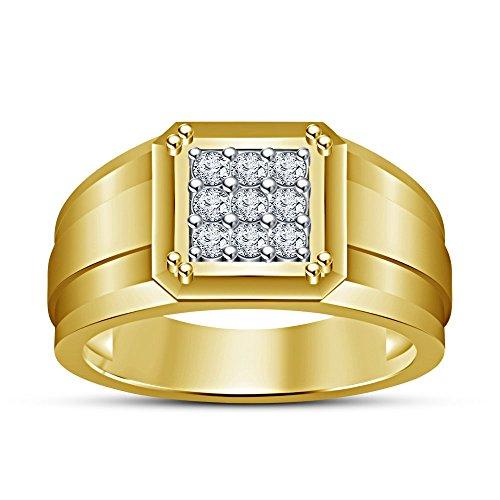 Vorra Fashion argento massiccio 925placcato oro 14K taglio rotondo bianco CZ Wedding Band Ring, Argento, (Oro Giallo Mens Wedding Band)