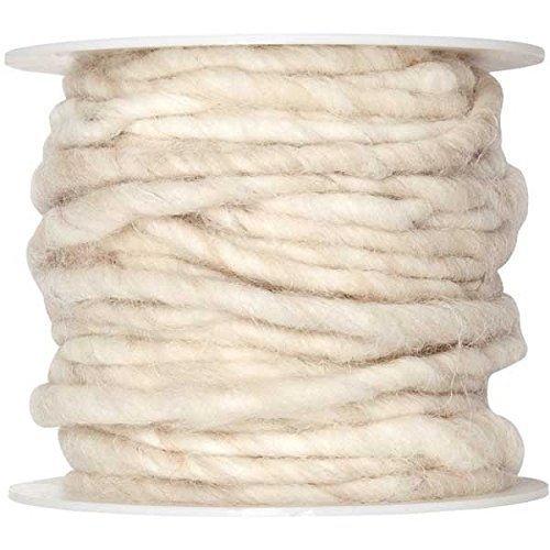 10m Wollschnur mit Juteseele Wollband Wolle Dekowolle Filzkordel D ca. 5mm, Farbe:creme (Filzband)
