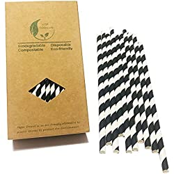 Kraft – Caja de 100 pajitas de papel de rayas blancas y negras, ideal para fiestas (rayas negras)