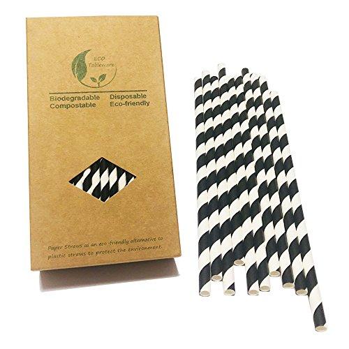 (Papier Box von 100schwarz und weiß Streifen Papier Trinkhalme ideal für Partys (schwarz gestreift))