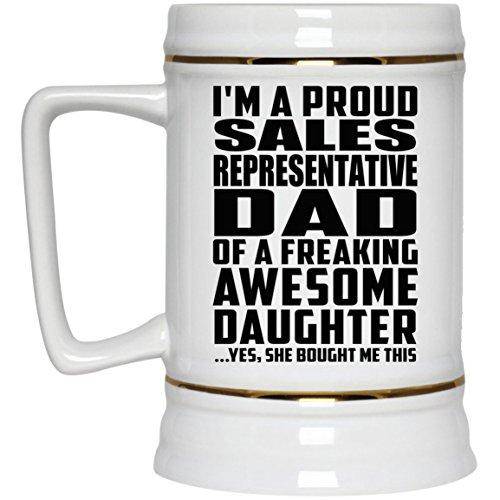 Proud Sales Representative Dad Of Awesome Daughter - Beer Stein Bierkrug Keramik Bierhumpen Bar Becher Kneipenkrug - Geschenk zum Geburtstag Jahrestag Muttertag Vatertag Ostern Sale Vintage Milk Glass