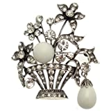 Acosta - weiß glänzend Perle & Glaskristall klar - antiken silberfarbenen Charms Brosche mit Blumenkorb