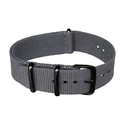Archer Watch Straps - Las Correas de Reloj de Nylon (Gris, Metal Negro, 18mm)
