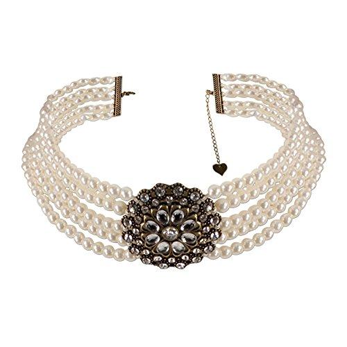Alpenflüstern Trachten-Collier Perlenblüte - Trachtenkette Perlen Damen-Trachtenschmuck Dirndlkette creme-weiß DHK112