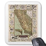 Computer Accessories Anti-Friction Wristband California Cycling Map of Bicycle Roads Vintage Mouse Pad 18X22