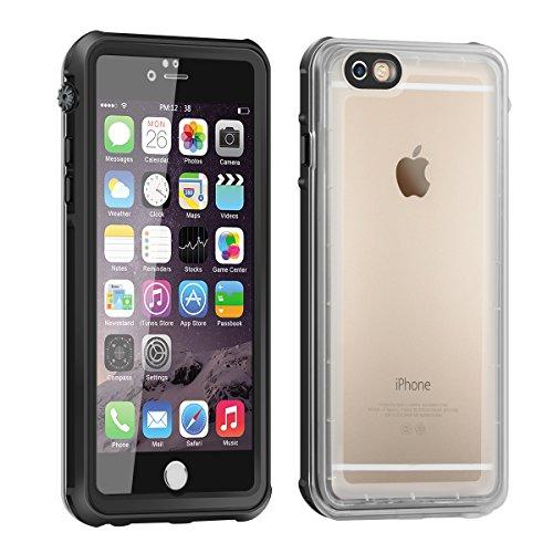 (Nouveau)Coque Antichoc iPhone 6, Eonfine Coque Housse Etui Transparent de Protection Waterproof IP68 Etanche Imperméable Antipoussière Anti-neige avec un Touch ID Ecran Protecteur pour iPhone 6 6s, 4.7'' Noir