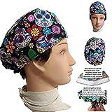 Surgical caps Mexican skulls short hair, surgeon, dentist, veterinarian, nurse, cook. Front absorber Adjustable tensioner