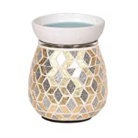 Astin of London Electric Gold & Silver Glitter Mosaic Wax Tart Melt Burner Lamp Scented Aroma Warmer - Hand Crafted