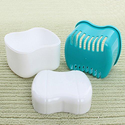 Ungfu Mall 1 PC Zahnprothesen Box Container Kieferorthopädische Zahn Blau Hülle Mund Behälter