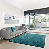 Shaggy-Teppich | Flauschiger Hochflor fürs Wohnzimmer, Schlafzimmer oder Kinderzimmer | einfarbig, schadstoffgeprüft, allergikergeeignet in Farbe: Türkis; Größe: 140 x 200 cm
