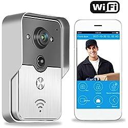Metalbay WiFi vídeo Timbre de Puerta Timbre de Video con Cámara WiFi Inalámbrico Timbre Impermeable Conexión con teléfono Inteligente Android, IOS