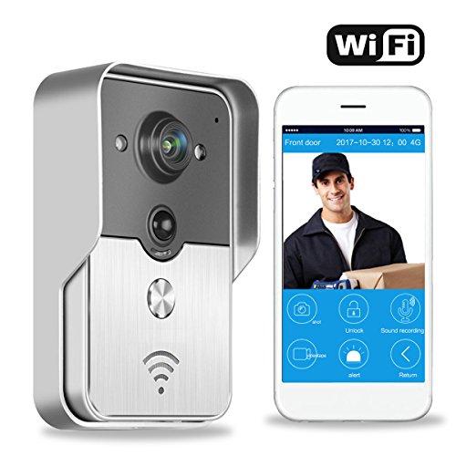 METALBAY Timbre Inalambrico Exterior Impermeable de Puerta con Video Cámara WiFi Compatible con Teléfono Inteligente Android, IOS