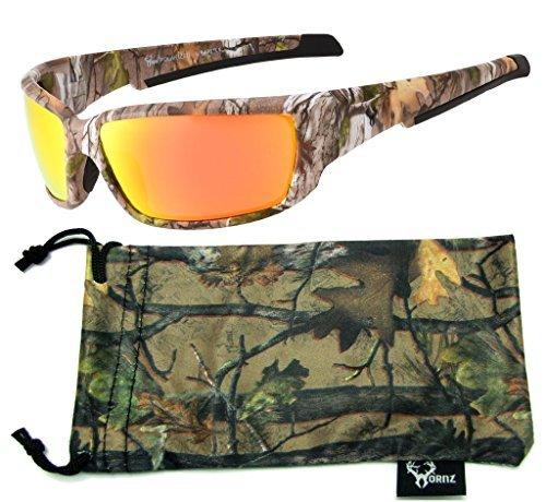 Hornz Brown Forest Camouflage Polarisierte Sonnenbrille für Männer Full Frame Starke Arme & Free Matching Microfaser Beutel - Brauner Tarnrahmen - Orangenobjektiv