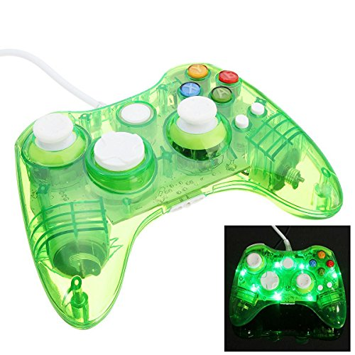 Pad-xbox 360 (Althemax® verdrahtete transparente Glow USB LED Lichter blinkt Game Pad Joysticks Controller Gamepad für Microsoft XBox 360 Slim Windows 10 Multi Farben - Grün)