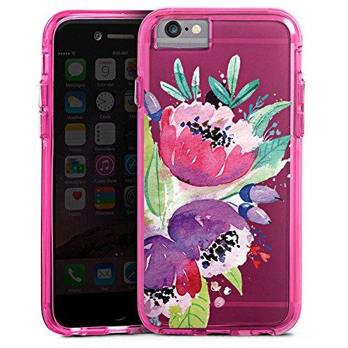 Apple iPhone X Bumper Hülle Bumper Case Glitzer Hülle Blumen Bunt ohne Hintergrund Transparent Durchsichtig Bumper Case transparent pink
