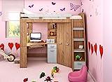Hochbett/Etagenbett mit Treppe rechts oder links, alles-in-einem-Möbel-Set für Kinder mit Bett, Kleiderschrank, Regal und Schreibtisch Craft-gold/Craft-white - Right Hand-side Stairs.