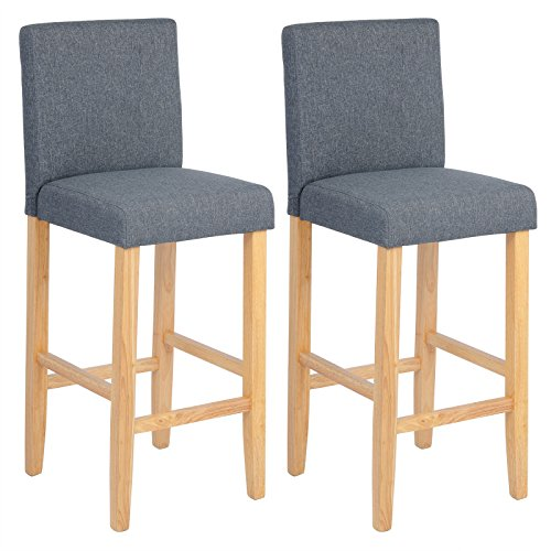 WOLTU BH65dgr-2 Barhocker Bistrostuhl Holz Leinen Bistrohocker mit Lehne, 2er Set,helle Beine aus Massivholz, Antirutschgummi, dick gepolsterte Sitzfläche aus Leinen, Dunkelgrau -