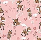 0,5m Jersey Rehe & Blumen rosa 5% Elasthan 95% Baumwolle