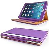 Apple iPad Mini / iPad Mini 2 Purple & Tan leather Wallet Smart Flip Case Cover with Magnetic Sleep Wake Sensor + Free Screen Protector