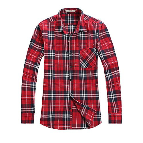 OCHENTA Men's Long Sleeve Plaid Flannel Shirt