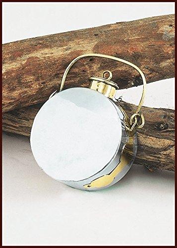 Römische Feldflasche (Laguncula), Stahl und Messing 1,5 Liter Trinkflasche LARP Mittelalter Wikinger (Rüstung Römischen Legionärs Kostüm)