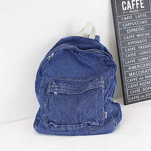 KEROUSIDEN Retrò zaino Jeans Art Institute di vento zaino in tela semplice colore puro giovane grande capacità Borsa da viaggio 32cm*40cm*15cm, blu scuro