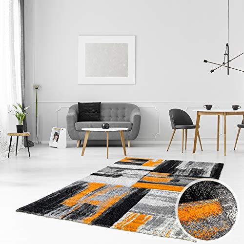 Tappeto moderno, per Soggiorno, mod. Swing, sfumature di colori (arancione  grigio nero), Orange Grau, 200 cm_x_290 cm