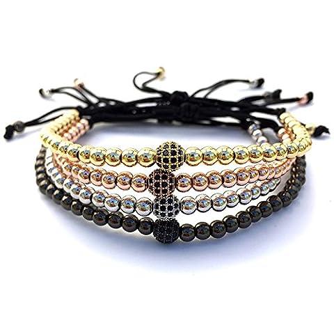 good. Designs macramé avec bracelet de diamant Boule, Bracelet de perles en or rose argent noir, Or rose