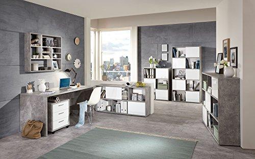 Büromöbel Beton Light Atelier/ Hochglanz weiss mit Schreibtisch, Container und Regalen