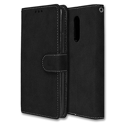 Chreey Lenovo K6 Note Hülle, Matt Leder Tasche Retro Handyhülle Magnet Flip Case mit Kartenfach Geldbörse Schutzhülle Etui [Schwarz]