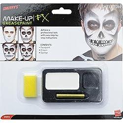 Smiffys Kit squelette, peinture du visage, crayon noir et éponge