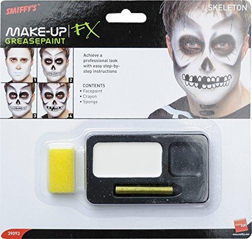 Smiffys, Unisex Skelett Make-Up Set, Gesichtsfarbe, Schminkstifte und Schwamm, Schwarz und Weiß, 39093
