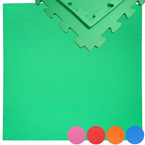 EYEPOWER Suelo de Gimnasio de EVA Espeso 12mm Esterilla Puzle 90x90cm Extensible Incl Marco para Deporte Ejercicio Verde