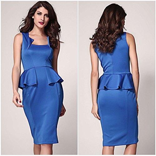 PU&PU Formel femmes / travailler / Party Flouncing dentelle robe fourreau, sans manches col rond blue
