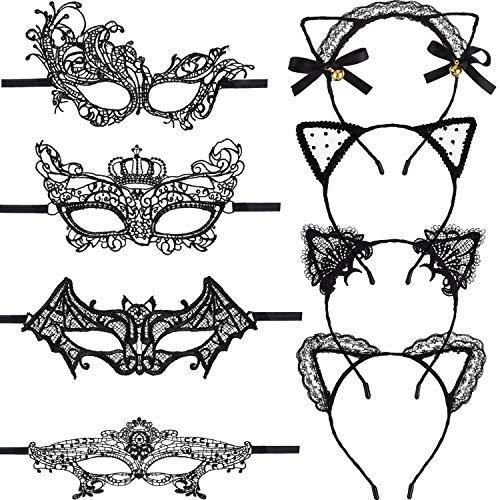 Ball Kostüm Acht - 8 Stück Masquerade Lace Augenmaske und Katzen Ohren Stirnband für Halloween Venetian Karneval Party Kostüm Ball, Schwarz