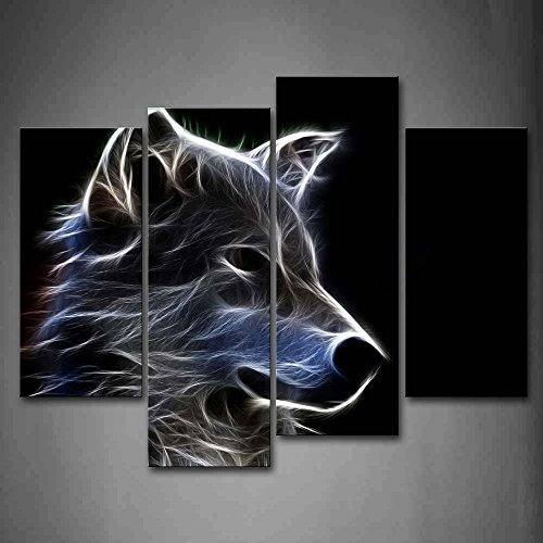 Grau Wolf Wandkunst Malerei Das Bild Druck Auf Leinwand Tier Kunstwerk Bilder Für Zuhause Büro Moderne Dekoration (Tier Leinwand-drucke)