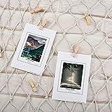Filet de Peche Décoratif, Cizen Photo Décoration Murale + 30 pinces à cadre, Galerie Photo à Accrocher pour Decoration Maison - Blanc, 2 * 1,5m