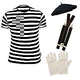 PAPER UMBRELLA Hombre Francés MIMO Disfraz Set de 4 Piezas - Black & Blanco, Men: 48/50