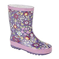 Stormwells Girls Floral Print Short Wellington Boots Mauve/Pink UK 1 (Junior)