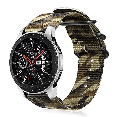 Fintie Armband kompatibel für Galaxy Watch 46mm / Gear S3 Classic/Gear S3 Frontier/Huawei Watch GT - Nylon Uhrenarmband verstellbares Ersatzband mit Edelstahlschnallen, Tarnen Grün