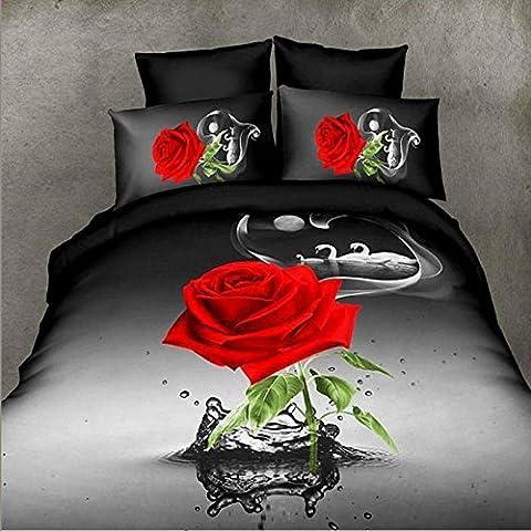 3d rose muster bettwäsche schwarz blumen schlafzimmer Set 4 stücke 1 bettbezug, 1 bettwäsche, 2 Kissenbezüge 200x230 cm , A , (Rosen Quilt Muster)