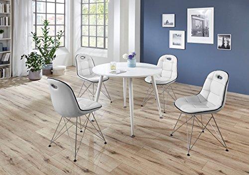 Tischgruppe 'Jesper' - Set Essgruppe Tischgruppe Sitzgruppe 4 Stühle Maße je Stuhl: H/T/B: 46 x 42 x 44 Esstisch rund 100 modern Küche Esszimmer weiß / Absetzungen schwarz - 42 Runde Esstisch
