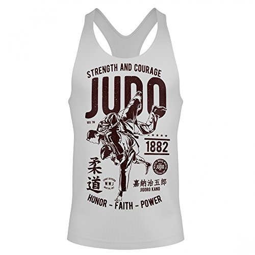 Stylotex Stringer Cotton Tank Top Strenght and Courage Judo Fitness Gym Shirt, Größe:M, Farbe:Weiss