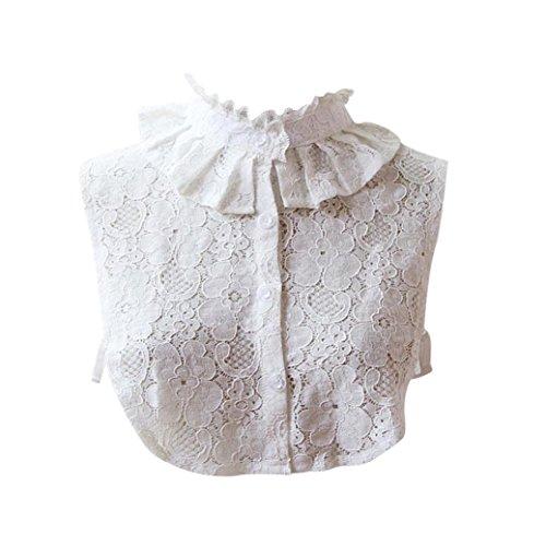 hunpta mujeres Vintage Gargantilla Collar Desmontable solapa camisa Fake Falso collar, blanco