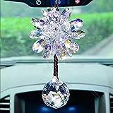 YK Lucky Ball Auto Innen Boutique Kristall Schneeflocke Ornament bvglass irisierend Anhänger für Spiegel Auto Charm Aufhänger Ornament, Lila / Weiß