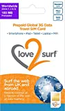 love 2 surf International 3G/4G Data Travel Trio SIM Card - WORLDWIDE - (34 EU Countries, ASIA, USA, CARIBBEAN, AFRICA & MIDDLE EAST) - 100MB included